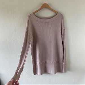 Free People Nude Tan Long Sleeve Tunic Thermal Top